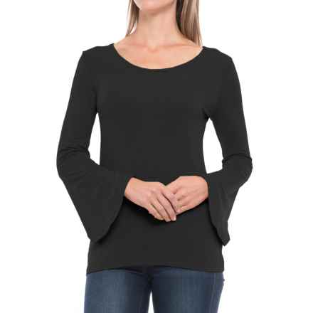 Paraphrase Flared Sleeve Shirt - Modal, Long Sleeve (For Women) in Black - Closeouts