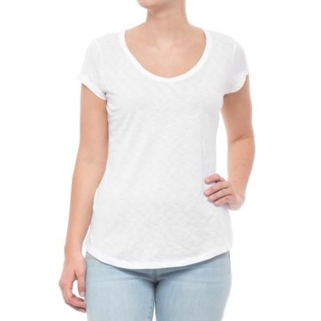Paraphrase Pima Shirttail T-Shirt - V-Neck, Short Sleeve (For Women) in White