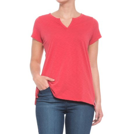 Paraphrase Pima Split-Neck T-Shirt - Pima Cotton, Short Sleeve (For Women) in Nantucket