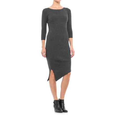 Paraphrase Ribbed Asymmetrical Dress - Long Sleeve (For Women) in Charcoal Heather Grey - Closeouts