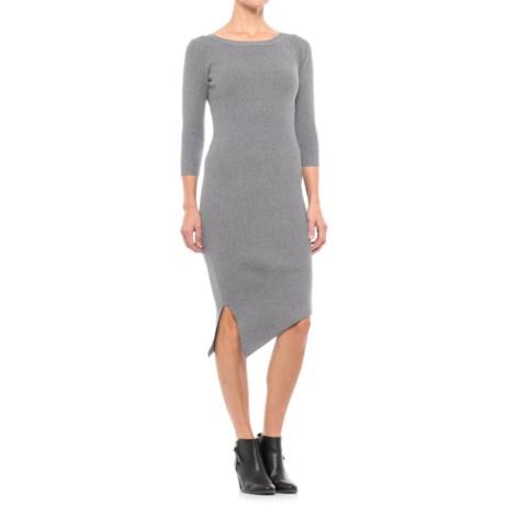 Paraphrase Ribbed Asymmetrical Dress - Long Sleeve (For Women) in Medium Heather