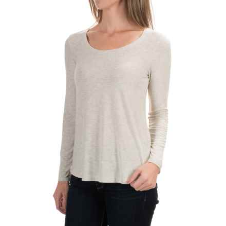 Paraphrase Scoop Neck Jersey Shirt - Modal, Long Sleeve (For Women) in Ivory Heather - Closeouts