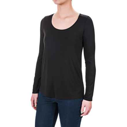 Paraphrase Stretch Modal High-Low Shirt - Long Sleeve (For Women) in Black - Overstock