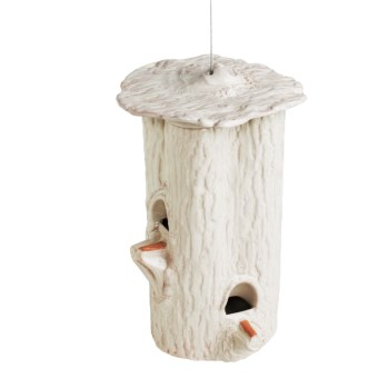 Parasol Habita Tree Trunk Ceramic Bird Feeder in Ivory