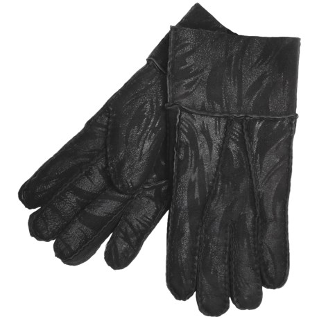 Paris Glove Lamb Shearling Gloves (For Men)  in Black Print
