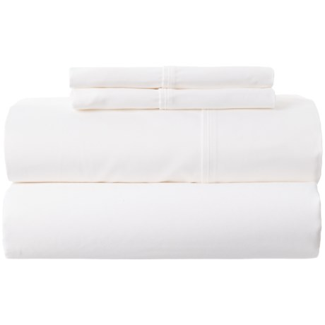 Park Manor Solid Cotton Sateen Sheet Set - King, 400 TC in White