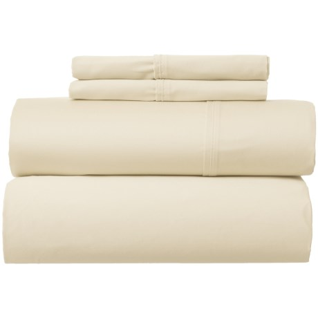 Park Manor Solid Cotton Sateen Sheet Set - Queen, 400 TC in Sand