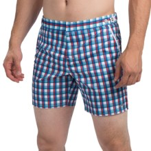 """parke & ronen Catalonia Sherwood Plaid Swim Trunks - Mesh Inner Briefs, 6"""" (For Men) in Brs Blue/Red Sherwood - Closeouts"""