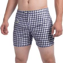 """parke & ronen Lido Gingham Swim Trunks - Mesh Inner Brief, 5"""" (For Men) in Ngh Navy Gingham - Closeouts"""