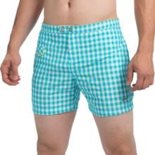 "parke & ronen Lido Gingham Swim Trunks - Mesh Inner Brief, 5"" (For Men) in Tgh Turquoise Gingham - Closeouts"