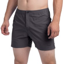 """parke & ronen Naples Solid Swim Trunks - Mesh Inner Brief, 5"""" (For Men) in Houston Charcoal - Closeouts"""