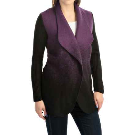 Parkhurst Cameron Boiled Wool Cardigan Jacket (For Women) in Black/Eggplant - Overstock