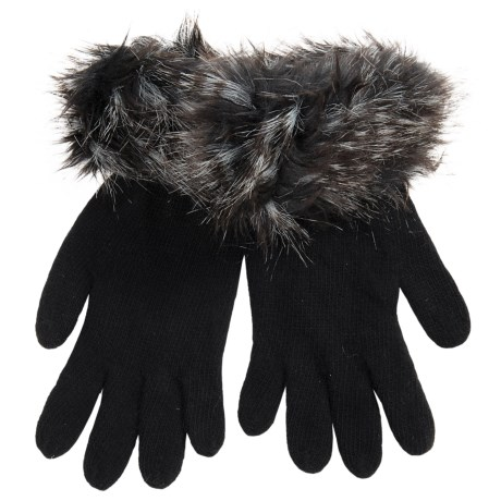 Parkhurst FAUX FUR CUFF GLOVE (For Women) in Black Joplin
