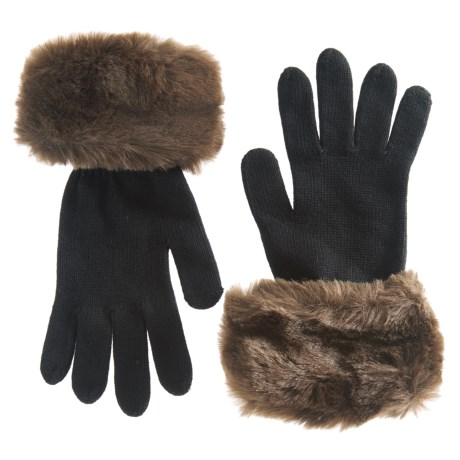 Parkhurst Faux-Fur Cuff Gloves (For Women) in Brown Beaver
