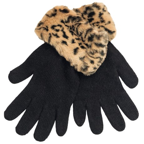 Parkhurst Faux-Fur Cuff Gloves (For Women) in Camel Leopard