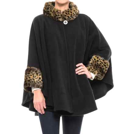 Parkhurst Fleece Faux-Fur-Trimmed Poncho - Long Sleeve (For Women) in Black/Cheetah - Closeouts