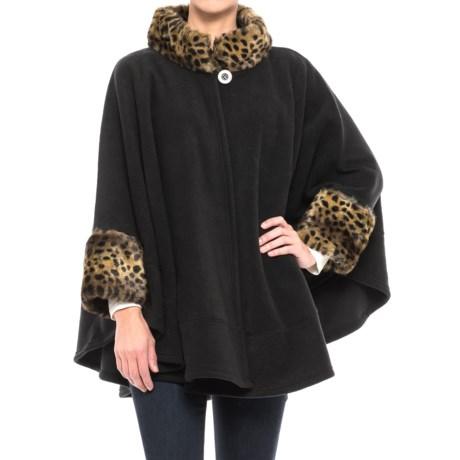 Parkhurst Fleece Faux-Fur-Trimmed Poncho - Long Sleeve (For Women) in Black/Cheetah