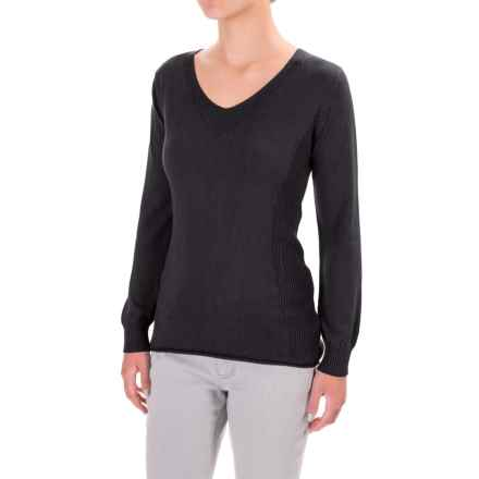 Parkhurst Henrietta V-Neck Sweater - Rolled Hem (For Women) in Black - Closeouts