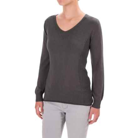 Parkhurst Henrietta V-Neck Sweater - Rolled Hem (For Women) in Charcoal - Closeouts