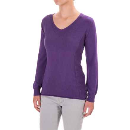 Parkhurst Henrietta V-Neck Sweater - Rolled Hem (For Women) in Dark Plum - Closeouts