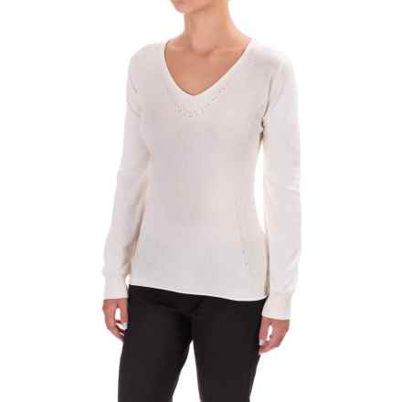 Parkhurst Henrietta V-Neck Sweater - Rolled Hem (For Women) in Natural - Closeouts