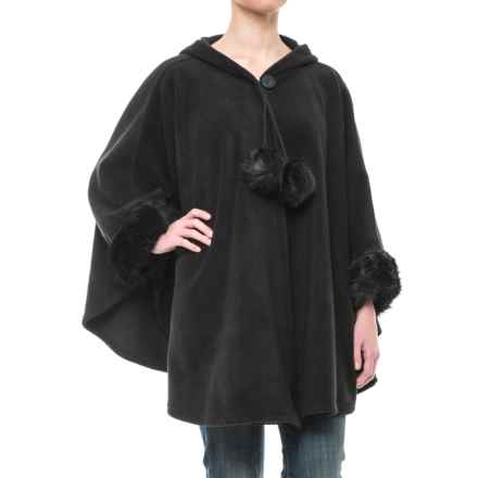 Parkhurst Hooded Fleece Poncho - Faux-Fur Trim (For Women) in Black/Black Mink - Closeouts