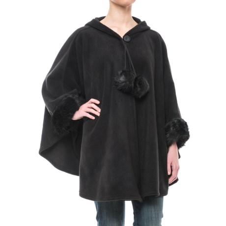 Parkhurst Hooded Fleece Poncho - Faux-Fur Trim (For Women) in Black/Black Mink