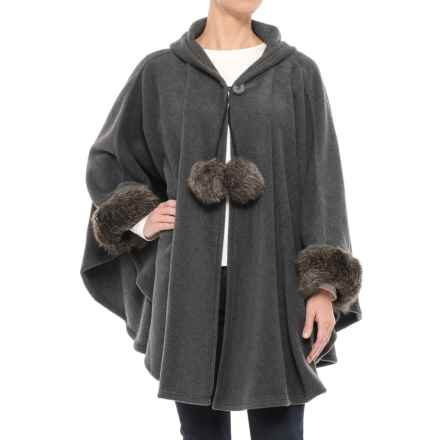 Parkhurst Hooded Fleece Poncho - Faux-Fur Trim (For Women) in Charcoal/Marmot - Closeouts