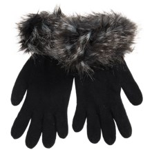 Parkhurst Knit Gloves with Faux-Fur Cuffs (For Women) in Black Joplin - Closeouts