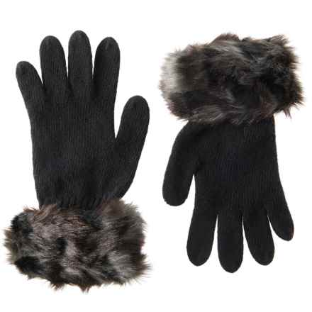 Parkhurst Knit Gloves with Faux-Fur Cuffs (For Women) in Cobblestone - Closeouts