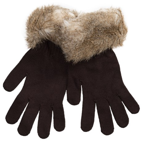 Parkhurst Knit Gloves with Faux-Fur Cuffs (For Women) in Light Fox