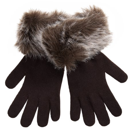 Parkhurst Knit Gloves with Faux-Fur Cuffs (For Women) in Mishka