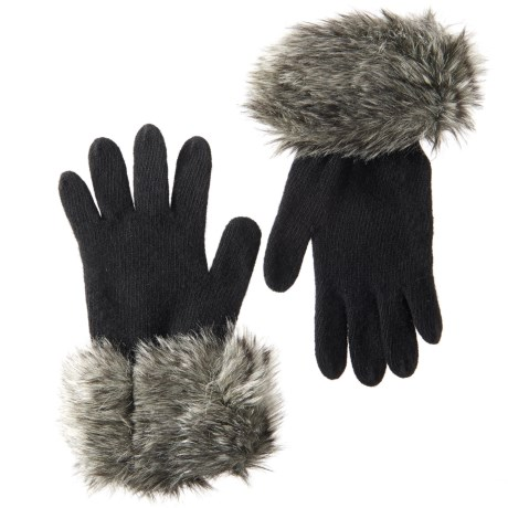 Parkhurst Knit Gloves with Faux-Fur Cuffs (For Women)