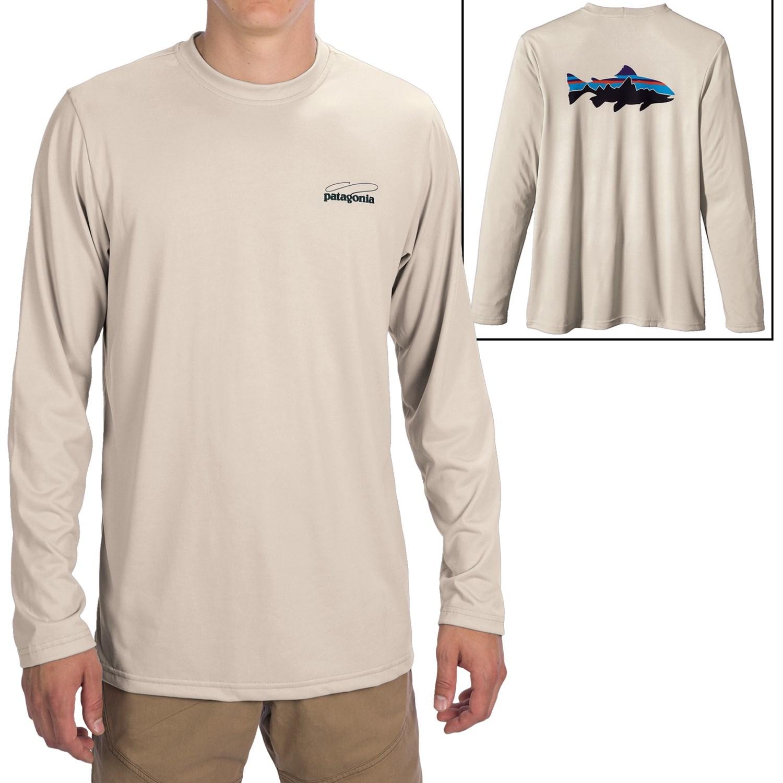 Patagonia graphic tech fish t shirt long sleeve for men for Patagonia fishing shirt