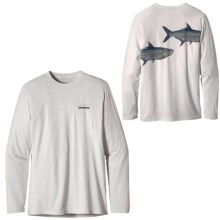 Patagonia Graphic Tech Fish T-Shirt - Long Sleeve (For Men) in Tarpon/White - Closeouts