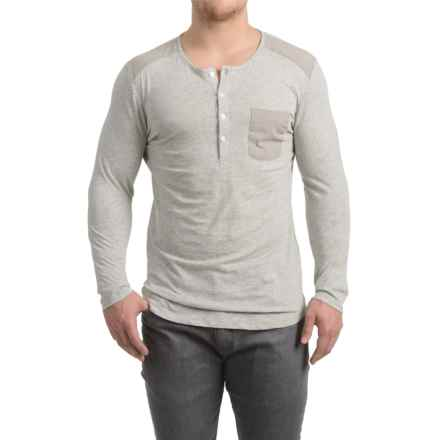 Patch Pocket Henley Shirt - Long Sleeve (For Men) in Grey Heather - 2nds