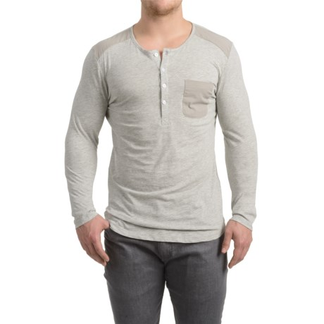 Patch Pocket Henley Shirt - Long Sleeve (For Men) in Grey Heather