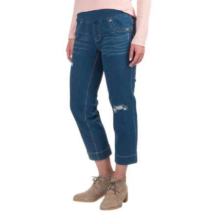 Patched Pull-On Capri Jeggings (For Women) in Blue - 2nds