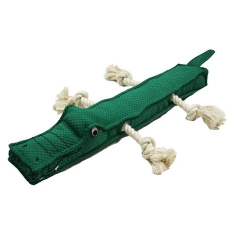 Patchwork Pet Alligator Stick Dog Toy - Squeaker in Dark Green