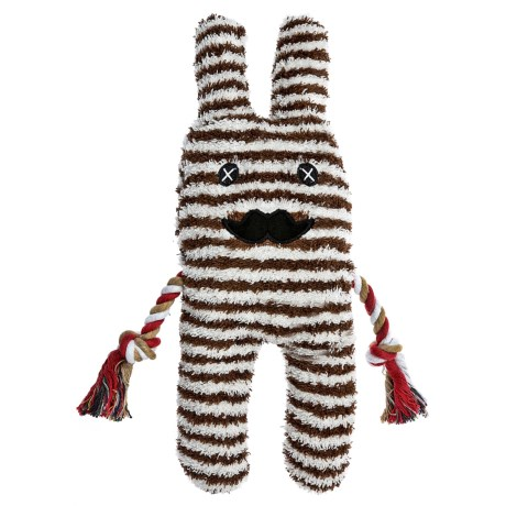 Patchwork Pet Gus Greybar Plush Dog Toy - Squeaker in Brown/White