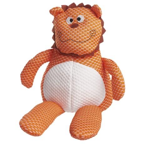 Patchwork Pet Tuffpuff Lion Plush Grunting Dog Toy in Orange/White