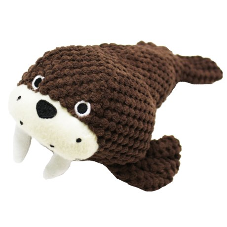 Patchwork Pet Walrus Plush Dog Toy - Squeaker in Brown