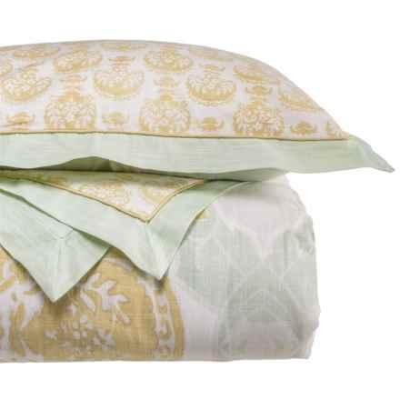 Patina Vie Avignon Comforter Set - Queen in Aqua/Gold - Closeouts