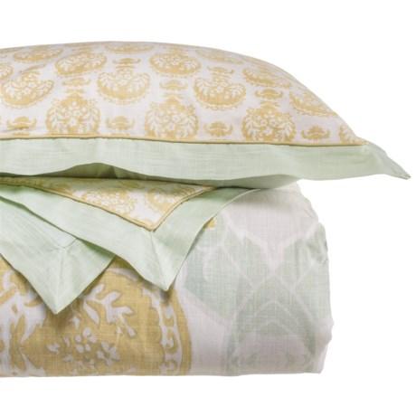 Patina Vie Avignon Comforter Set - Queen in Aqua/Gold