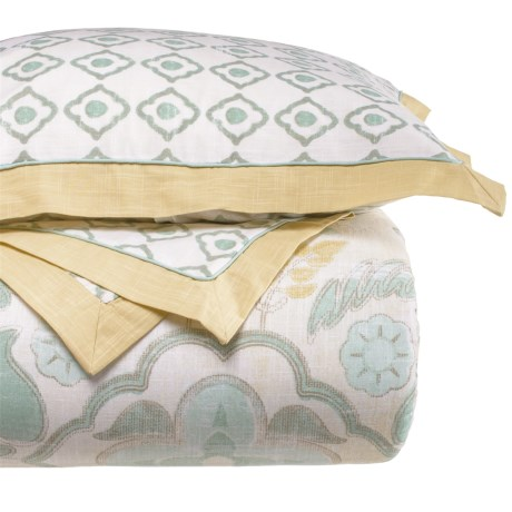 Patina Vie Montpellier Comforter Set - Queen in Aqua/Ivory