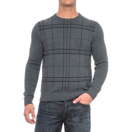 Patterned Crew Neck Sweater (For Men) in Blue - Closeouts