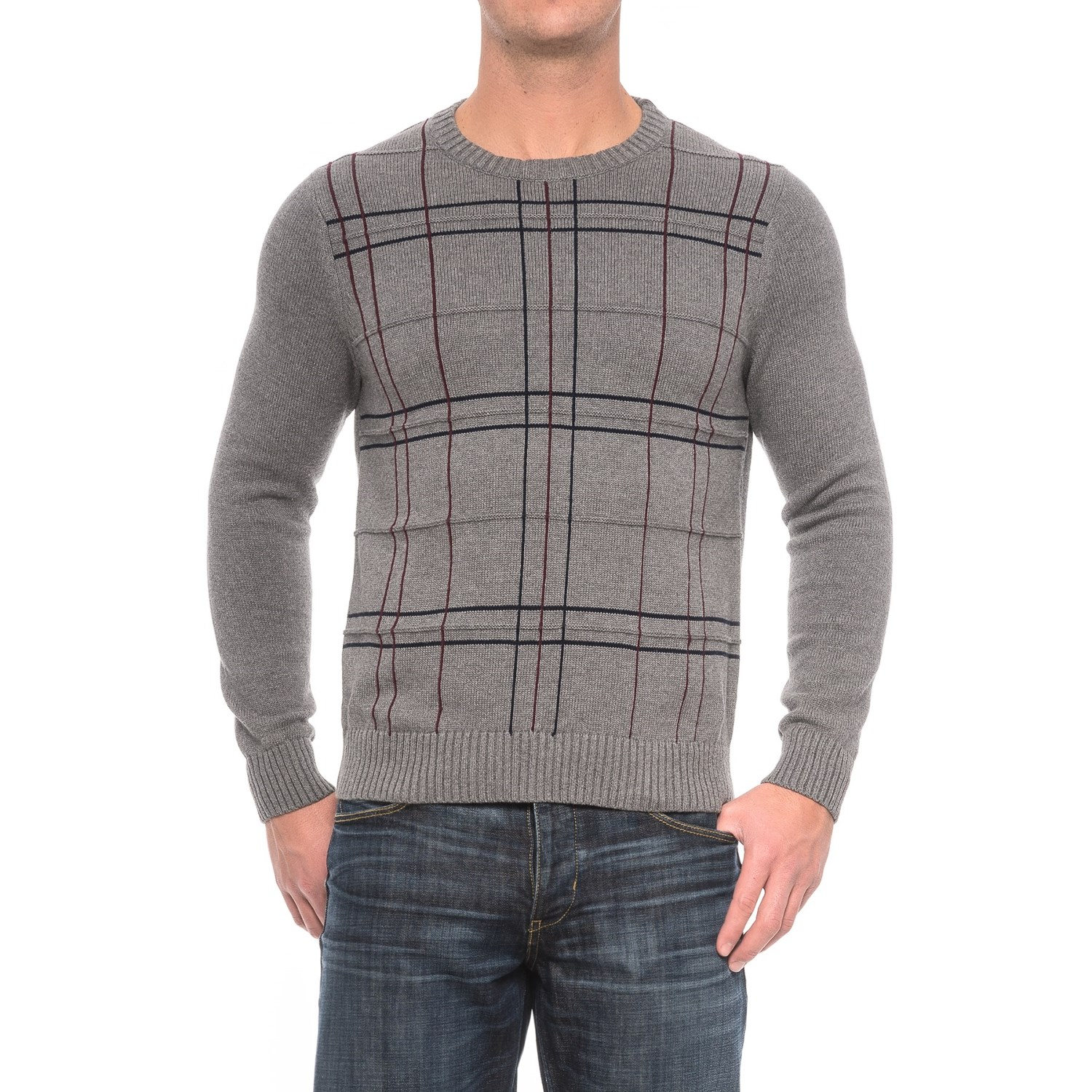 Patterned Crew Neck Sweater (For Men) - Save 65%