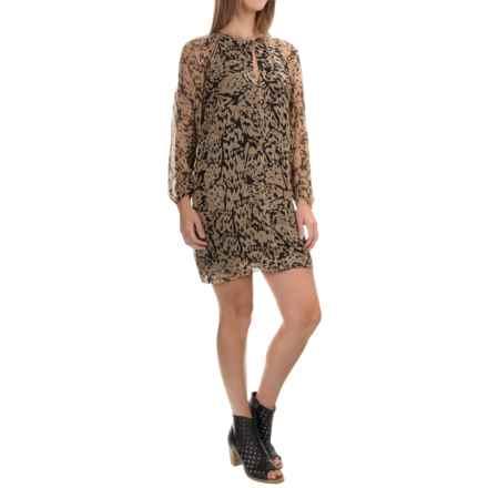 Paula Hermanny Horus Short Dress - Silk, Long Sleeve (For Women) in Black/Brown Multi - Overstock