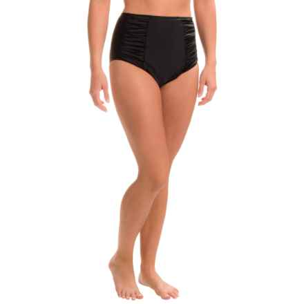 PB Sport Ruched Brief Bikini Bottoms - High Waist (For Women) in Black - Closeouts