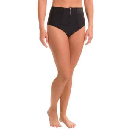 PB Sport Zip Brief Bikini Bottoms - High Waist (For Women) in Black - Closeouts